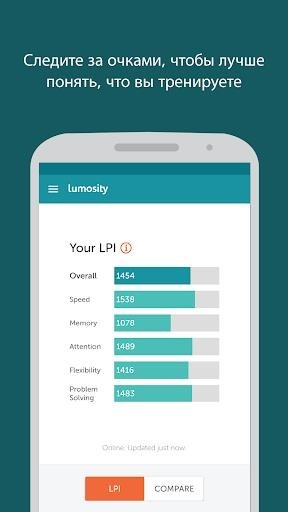 Lumosity — тренировка мозга для Андроид