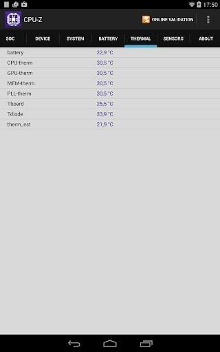 Скриншот CPU-Z для Андроид