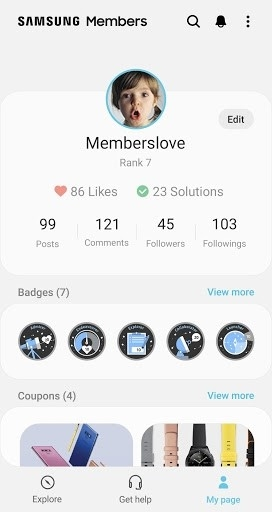 Скриншот Samsung Members для Андроид