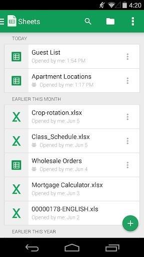 Таблицы для Андроид