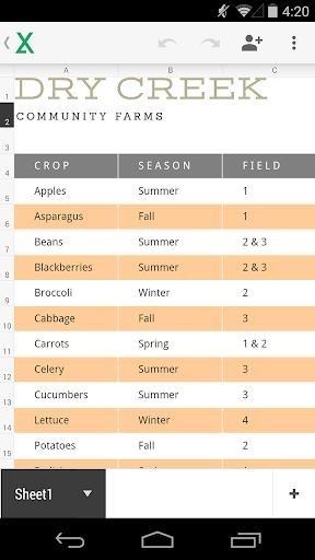 Приложение Таблицы для Андроид